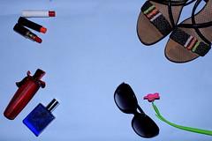 Feminine (viveksanand) Tags: lipstick sandals scent abstract art glass flower