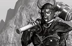 Freyja - 10/2019 (IvoryBouscario) Tags: sl secondlife mimmo bw blackandwhite monochrome viking freyja elven hammer helmet armor armour woman female warrior photo
