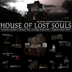 22769 - The House Of Lost Souls for The Arcade : October 2019 (manuel ormidale) Tags: tree halloween spookey cabin house build outdoor decoration lantern lamp fence brockenfence deadtree treebed gallowtree sign graves scarecrow cauldron treetrunk lostsouls thearcade october spook 22769 22769bauwerk bauwerk pacopooley arcade gacha