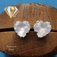 Boucles d'oreilles coeur en quartz rose en argent 925 (olivier_victoria) Tags: argent 925 boucles oreille boucle doreille rose coeur quartz naturel