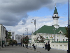 the oldest mosque of Kazan (1767) (VERUSHKA4) Tags: canon europe russia kazan city hccity cityscape architecture mosque rue street decor roof people building perspective farole streetlamps september autumn travel historic sky ciel vue view cloud tree metallicobject green