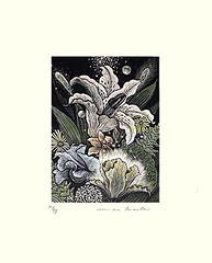 Day-lily and unknown flowers (Japanese Flower and Bird Art) Tags: flower daylily hemerocallis hemerocallidaceae masahiro kurita modern intaglio print japan japanese art readercollection