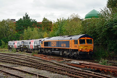 66786 91117 91120 0Z91 Leicester (British Rail 1980s and 1990s) Tags: 91 class91 europheonix europhoenix 0z91 91117 91120 66 class66 gbrf gbrailfreight train rail railway railroad loco locomotive lmr londonmidlandregion mainline mml midlandmainline livery liveried 1st first traction br britishrail electric ac leicester