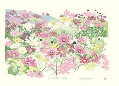 Cosmos (Japanese Flower and Bird Art) Tags: flower cosmos bipinnatus asteraceae shin'ichiro modern woodblock print japan japanese art readercollection