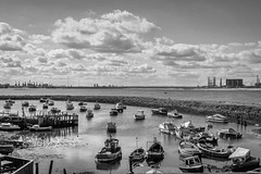 SJ2_1434 - Paddy's Hole, South Gare bw (SWJuk) Tags: redcar england unitedkingdom swjuk uk gb britain yorkshire northyorkshire yorkshirecoast teesside middlesbrough paddyshole southgare bw mono harbour bay breakwater boats fishingboats port ripples clouds river rivertees shelter 2019 sep2019 autumn holidays nikon d7200 nikond7200 nikkor1755mmf28 rawnef lightroomclassiccc