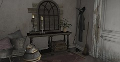 Witches Entryway (Miru in SL) Tags: second life sl home decor witches muniick garden trick or treat lane deadly nightshade cauldron merak apple fall old rustic vintage candles broom sanarae event