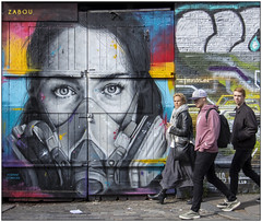 Masked (Mabacam) Tags: 2019 london shoreditch eastend streetart wallart publicart spraycanart graffiti mural portrait mask facemask protectivemask walking colour zabou