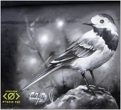 Feathered Friend (Mabacam) Tags: 2019 london shoreditch eastend streetart wallart publicart spraycanart graffiti mural bird bw blackandwhite sagie