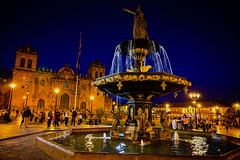 Statue of Inca Pachacuti water fountain in Plaza de Armas - Cusco Peru at Night (mbell1975) Tags: cusco cuscoregión peru statue inca pachacuti water fountain plaza de armas night perú peruvian cuzco qusqu qosqo la place darmes square park mayor plein evening lights waterfountain sculpture unesco whs world heritage site worldheritagesite