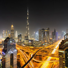 Dubai Burj Khalifa Night (mpelleymounter) Tags: dubai dubaicity dubainight burjkhalifa shangrilahoteldubai lighttrails city cityscape nightscape longexposure markpelleymounter wwwphotomarkscouk downtowndubai traffic traffictrails level42 level42shangrilahotel burjkhalifanight uae