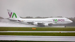 Wamos B747 take off in pouring rain at Manchester Airport. (airpower) Tags: eckxn wamos air boeing 7474h6 747 b747 egcc manchester man manchesterairport airport airlines spain wet raining rain take takeoff uk e england ef100400mm canon