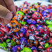 Trick or treat? A plate of funny, multicolored Halloween sweets