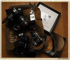camera stuff for holidays.  5DmrkIII + 17-40 f4. A1 + FD 35mm 1:2.8. Zorki4 + jupiter8.  Some ilford delta 400 rolls.  Love picture.  Pays basque photos book.  In a PINELAKE LODGE Bag (Xabi Argazkigintza) Tags: pinelakelodgebag paysbasque zorki4 photo photographymuseum argentique film 35mm canon canong15 canonclassic canonfd ilford whatsinmyphotobag photobag eos5dmarkiii 5dmarkiii ef1740 euskadi euskalherria holidays vacances lovesittinonarock xabierargazkigintza