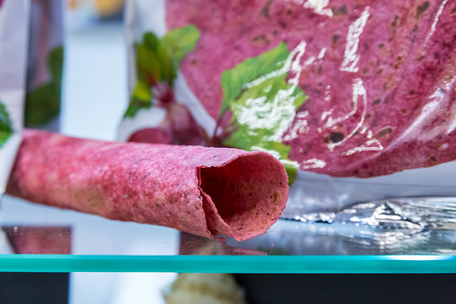 Rolled beetroot tortilla without filling