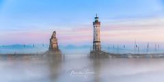 Lindau Harbour, Bavaria (Martin Zurek) Tags: lindau bayern deutschland photoshop fog landscape landschaft bavaria explore panorama pano