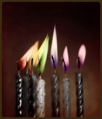 (kerwitcherwoo) Tags: rainbow candles flames flicker flare fun smile humour homemadeart creativetabletopphotography sliderssunday hss
