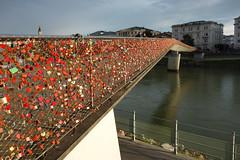 The Locksmiths Dream (davidvines1) Tags: bridge river salzach salzburg austria padlock red