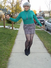 Is It Unbecoming For A 72-Year Old Woman To Present Herself In Public In A Skirt This Short? (Laurette Victoria) Tags: tights mini skirt booties sweater gray woman laurette sidewalk