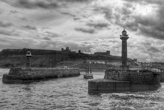 Coming Home,Whitby Harbour (Andreadm66) Tags: clouds uk seascape landscape cliff coast whitbyabbey monochrome seaside boat barkendeavour northyorkshire yorkshire lighthouse ship blackandwhite sea harbour whitby