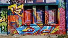 La Rochelle (Esteban 86360) Tags: graffitis graf graff graffiti tag larochelle la rochelle 17 charente maritime mur house outside peinture colors couleurs coloring flag maison home abandonned closed decay decayed