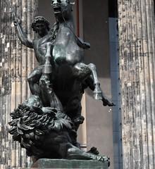 Lion Fighter (thomasgorman1) Tags: sculpture bronze equestrian statue nikon lion horse public germany berlin museum altes