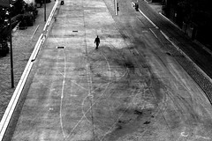 On the deserted way (pascalcolin1) Tags: paris13 homme man chemin way route road photoderue streetview urbanarte noiretblanc blackandwhite photopascalcolin 50mm canon50mm canon