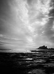 Bamburgh beach (designfabric57) Tags: castle bamburgh bw beach sky panasonic lumix g7