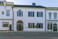 Thomas Owings House — Owingsville, Kentucky (Pythaglio) Tags: building structure historic house dwelling residence federal twostory brick doorway fanlight sidelights camework palladian window cornice brackets ornate bank nrhp nationalregister 78001297 1811 1814 1905 thomasowings