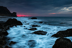 El Matador Beach (donminer) Tags: sunset ocean rocks dark malibu moody beautiful whitewater waves mountains sand water blue