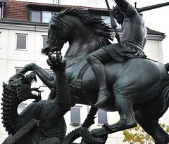 Fighting the dragon (thomasgorman1) Tags: statue bronxe equestrian dragon horse dragonslayer classical sculpture germany berlin public 1853 saint fighting horseback monster legend monument nikon george