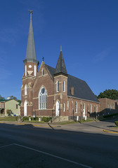 Presbyterian Church — Mount Sterling, Kentucky (Pythaglio) Tags: building structure historic church brick religion presbyterian steeple stone stringcourses gothicrevival lancetarched windows buttresses sidewalk street kentucky montgomerycounty mountsterling