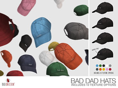 NEW! Bad Dad Hats - @ TMD (Bhad Craven 'Bad Unicorn') Tags: hats hat urban mesh daddy milf green pink black blue orange white navy grey red badunicorn 3d art artist gfx graphic design bhadcraven unicorns unicorn bad bhad craven secondlife second life sl meshed decor decorative decors home garden gardens homes houses builds buildings cool dope