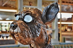 Schnoggles (stavioni) Tags: angie doy iron resin granite dog goggles savill garden surrey sculpture society statue figure