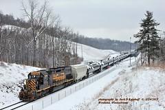 W&LE 5413, 643, Westland , PA. 1-24-2015 (jackdk) Tags: train railroad railway locomotive emd emdsd40 emdsd402 emdsd40t2 sd40 sd402 sd40t2 wheelingandlakeerie wheeling wle westlad wheeling643 tanktrain fallenflag snow standardcab drgw denverandriograndewestern tunnelmotor