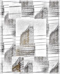 """Sketchy Shangri La"" (Marcia Portess-Thanks for a million+ views.) Tags: windows scene street city urbano urban canada vancouver centro downtown glasstower tower highrise architecture building elartedigital digitalart elarte art abstract marciaportess marciaaportess map sketchyshangrila"
