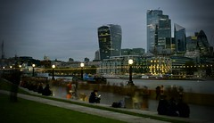 Don't let a good book spoil the view (rwbthatisme) Tags: london thames longexposure fujifilm x100f walkie talkie reading dusk streetphotography