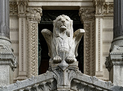 Entrance to the Basilica of Fourviere guarded by the winged lion (Keres Jasminka) Tags: lionstatuesculpturearchitecturefranceartbasilicachurchancientlyonmarblestonemonumenteuropebuildingfourviereentrancereligiontravelsaintfrenchhistorywingedfacade sculpture france history church statue architecture religion lion entrance marbel basilic widged