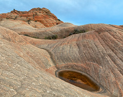 Yant Flat Conception Cliffs (Bold Frontiers) Tags: landscape nature rock rocks stone sandstone rugged hill cliff puddle water yantflat utah usa america travel wanderlust