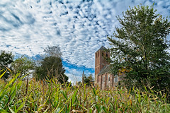 The Church In The Corn (Alfred Grupstra) Tags: architecture nature buildingexterior outdoors old tree builtstructure ruralscene house sky summer history europe nopeople springtime church blue agriculture farm day