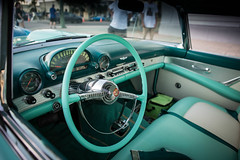 Ford Thunderbird Interior [Explored] (Photos By Clark) Tags: california vehicles northamerica subjects canon2470 canon5div carsandtrucks unitedstates location locale places where ford 1955 thunderbird personal teal interior white us american iron classic restored thesandiegoist