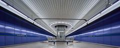 Gateway (Arx Zyanos) Tags: munich münchen germany metro station metroblues sony ilce7rm3 a7rmk3 a7riii voigtländer voigtlander hyper wide heliar 10mm fullframe architecture lines blue mood cool architektur futuristic design
