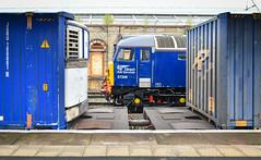 Shades of blue at Crewe (robmcrorie) Tags: 57308 thunderbird crewe station cheshire train rail railway railfan nikon d850 container intermodal