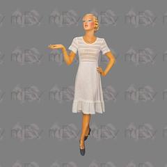 1970s Crochet Top White Dress with Textured Cotton Skirt (Rickenbackerglory.) Tags: vintage 1970s crochet dress cotton skirt siegel mannequin summer