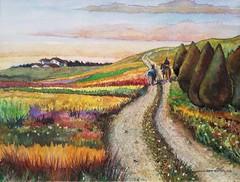 Paisaje con viajero a caballo (debaues) Tags: acuarela paisaje landscape color campo horse caballo
