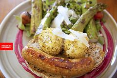Eggstraordinary Eggs & Snags (APERTURE X & THE CULINARY ADVENTURER) Tags: food singapore aussie egg asparagus multigraintoast sausage beetrootpuree greens
