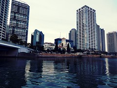(Human-Faced Bun & Honey Pudding) Tags: cityscape city scene skyline sea building architecture seabus ferry sky canal tower bridge