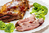 Close-up of baked lamb with broccoli on a plate (wuestenigel) Tags: vegetable lamb shoulderblade closeup cut roasted slice fried bone broccoli background dinner protein fresh green leg food meal plate meat cooked roast lunch black mutton garnish spices shoulder stew 2019 2020 2021 2022 2023 2024 2025 2026 2027