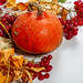 Dry autumn leaves, pumpkin and viburnum berries on white wooden background