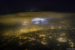 Thunderstorm approaching Turin. (Philippe Goachet) Tags: inflight lightning éclair turin orage pilotview aviation thunderstorm weather
