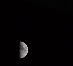 Moon Under Saturn (John Kocijanski) Tags: moon planet astronomy saturn conjunction night nightsky sky blackandwhite nature canon400mmf56lens canon7d